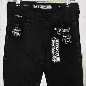AFFLICTION Raquel Skinny Laceup Leg Denim Jeans